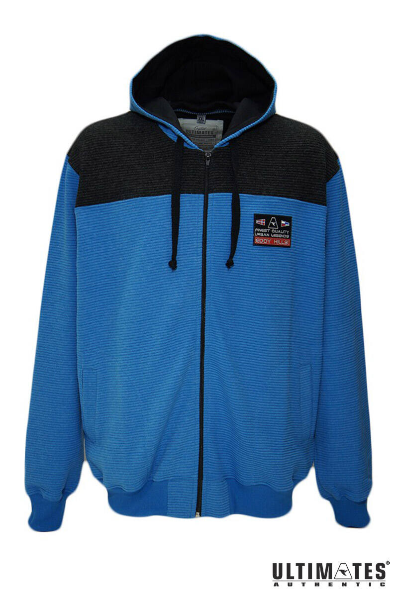 kapucnis nagyméretű kék férfi pulóver