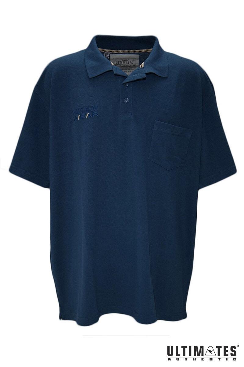 férfi nagyméretű kék galléros lacost póló