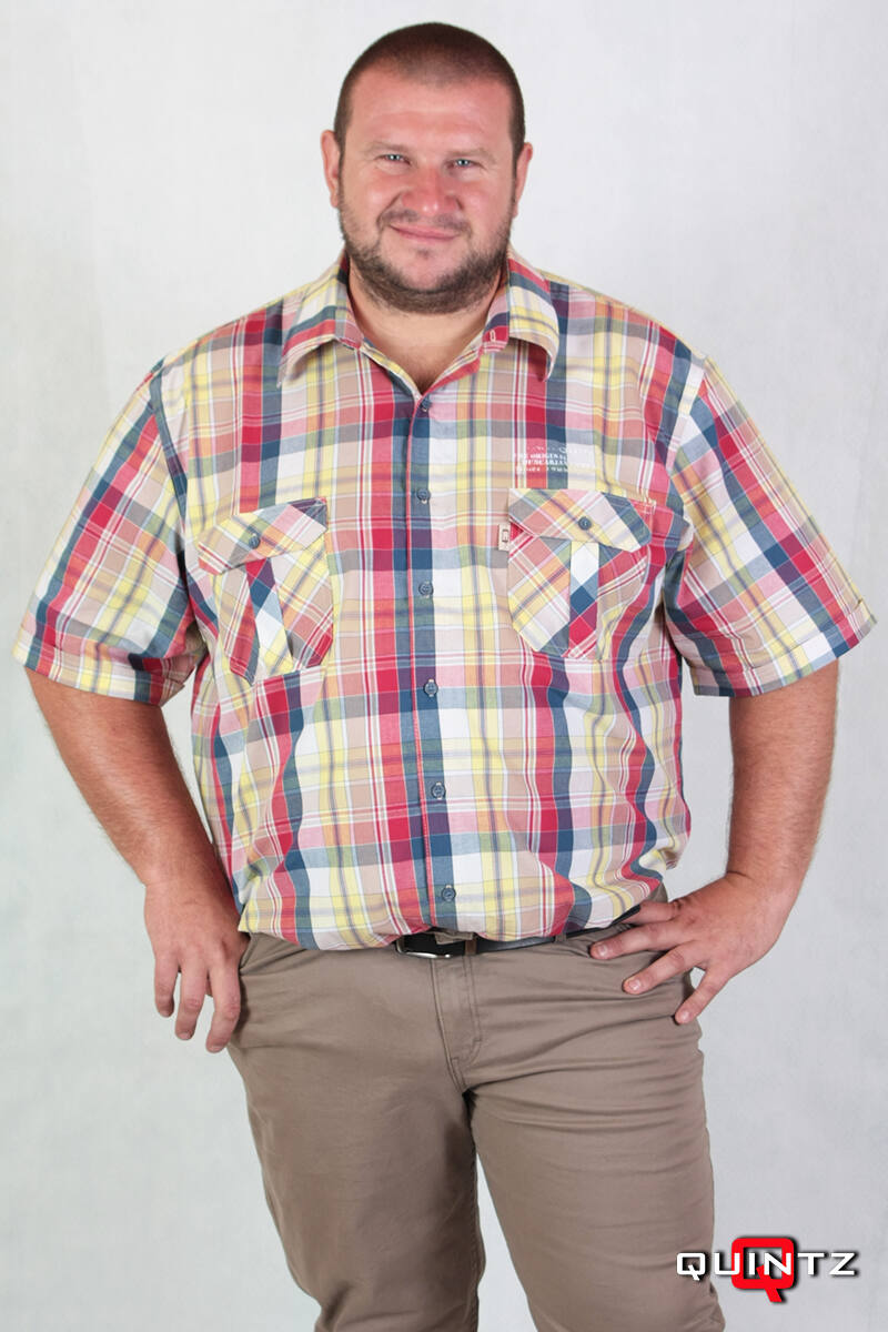 férfi nagyméretű kockás rövid ujjú ing