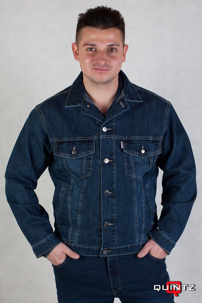 férfi koptatott kék farmerdzseki