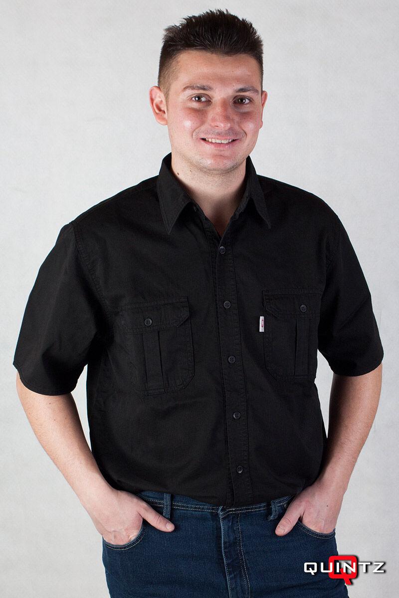 Fekete rövid ujjú pamut ing nagy méretben