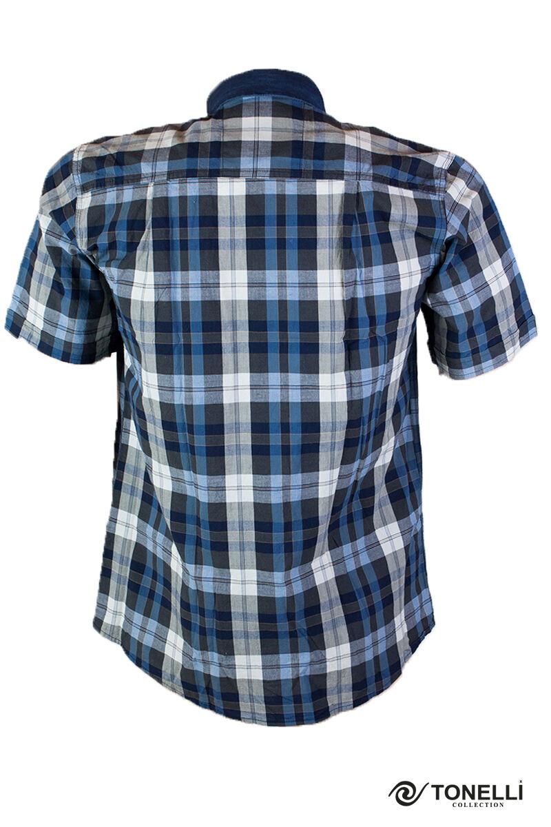 sötét kék apró kockás rövid ujjú ing