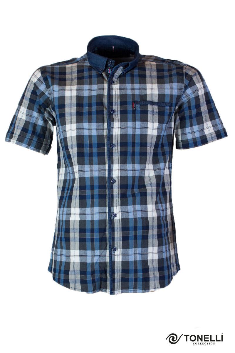 férfi sötét kék apró kockás ing