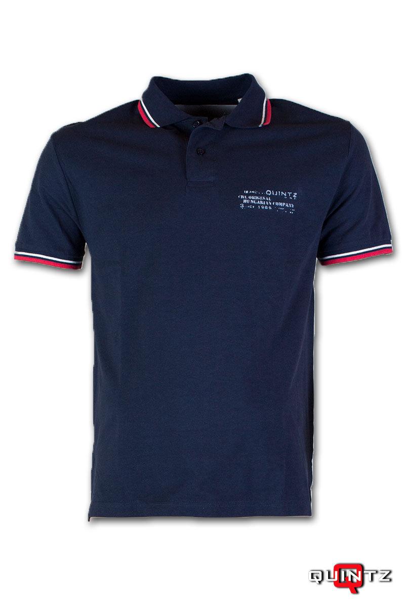 férfi galléros kék póló